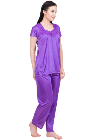 Purple Color Satin Women Nighty - LS-NST-PURPLE
