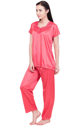 Red Color Satin Women Nighty - LS-NST-RED