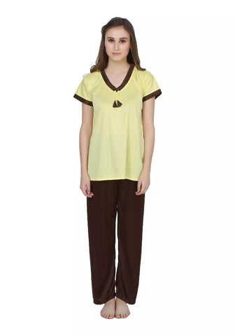 Yellow Color Cotton Women Nighty - LS-NST-YELLOW