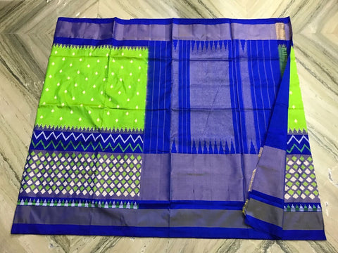 Parrot Green and Royal Blue Color Ikat Silk Pochampally Saree - LS-WA0001