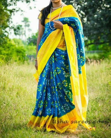 Blue and Yellow Color Ikat Silk Pochampally Saree - LS-WA0022