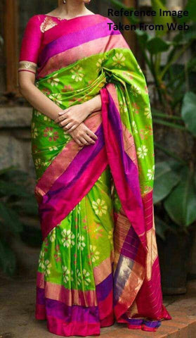 Green and Pink Color Ikat Silk Pochampally Saree - LS-WA0023