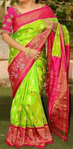 Parrot Green and Pink Color Ikat Silk PochamPally Saree - LS-WA0026