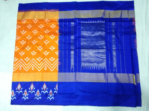Orange and Royal Blue Color Ikat Silk Pochampally Saree - LS-WA0027