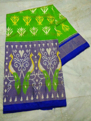 Parrot Green and Blue Color Ikat Silk Pochampally Saree - LS-WA0028