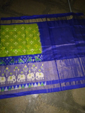 Parrot Green and Blue Color Ikat Silk PochamPally Saree - LS-WA0029
