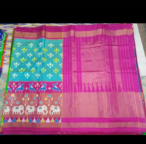 Multi Color Ikat Silk Pochampally Saree - LS-WA0030