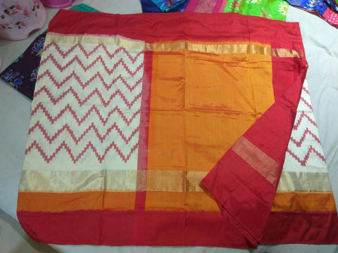 Multi Color Ikat Silk Pochampally Saree - LS-WA0031