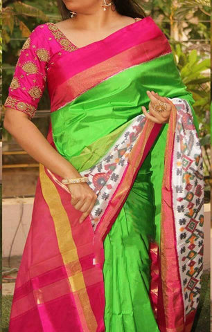 Green and Pink Color Ikat Silk Pochampally Saree - LS-WA0032