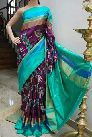Multi Color Ikat Silk Pochampally Saree - LS-WA0037