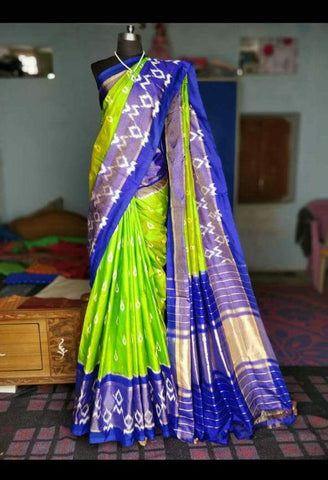 Parrot Green and Blue Color Ikat Silk PochamPally Saree - LS-WA0039