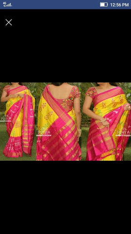 Pink and Yellow Color Ikat Silk Pochampally Saree - LS-WA0041