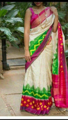 Buy Multi Color Ikat Silk PochamPally Saree