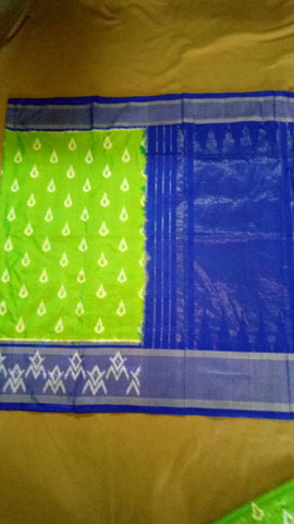 Parrot Green and Blue Color Ikat Silk Pochampally Saree - LS-WA0047