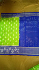 Buy Parrot Green and Blue Color Ikat Silk Pochampally Saree