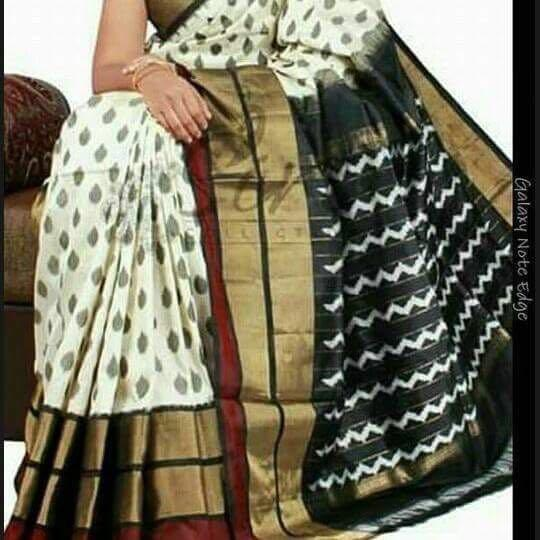Buy Black and White Color Ikat Silk Pochampally Saree