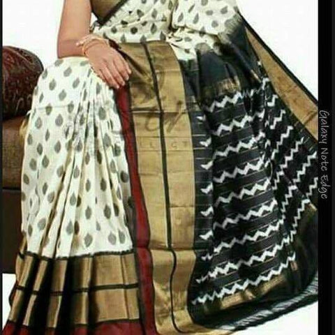 Black and White Color Ikat Silk Pochampally Saree - LS-WA0050