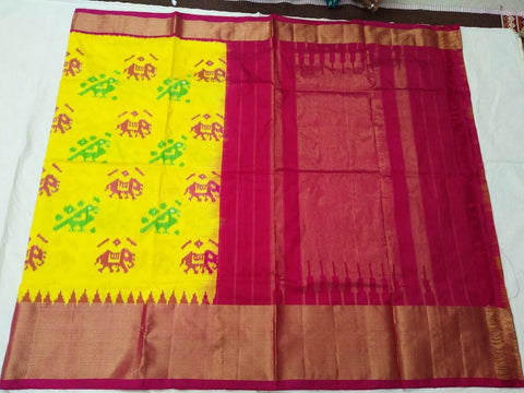 Multi Color Ikat Silk Pochampally Saree - LS-WA0051