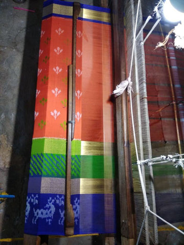 Multi Color Ikat Silk Pochampally Saree - LS-WA0052