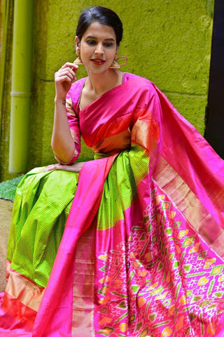 Parrot Green and Pink Color Ikat Silk PochamPally Saree - LS-WA0053