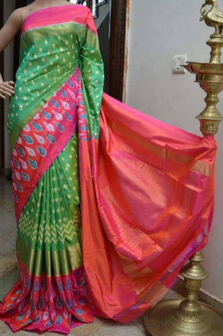Green and Pink Color Ikat Silk PochamPally Saree - LS-WA0060