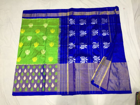 Parrot Green and Blue Color Ikat Silk PochamPally Saree - LS-WA0061