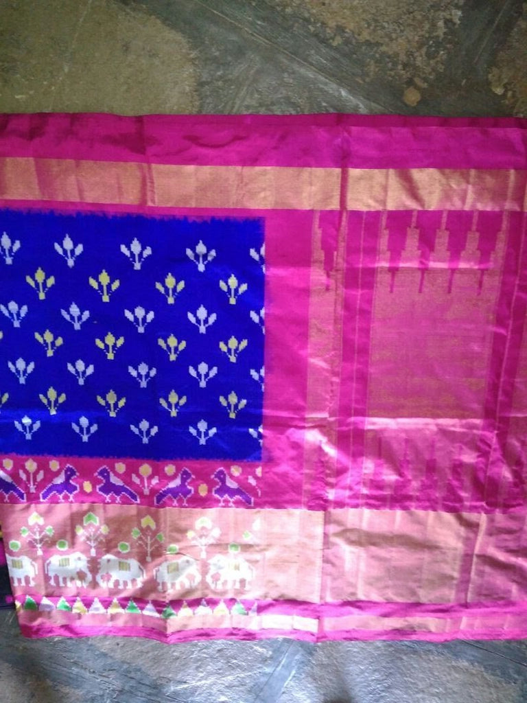 Buy Blue and Pink Color Ikat Silk Pochampally Saree