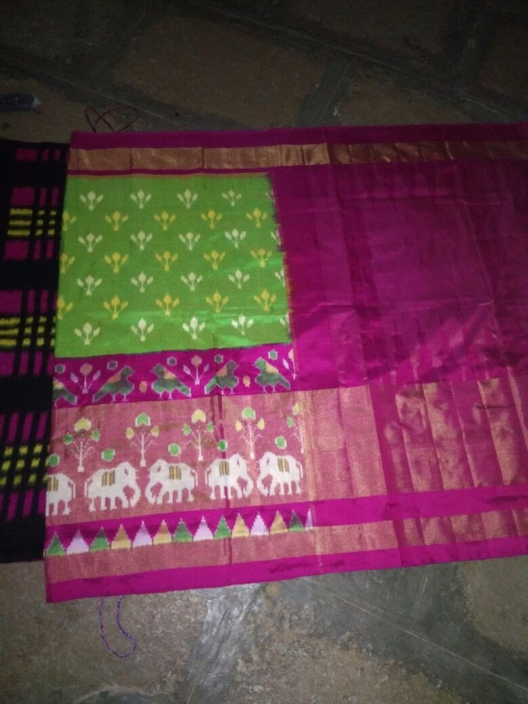 Buy Parrot Green and Pink Color Ikat Silk Pochampally Saree