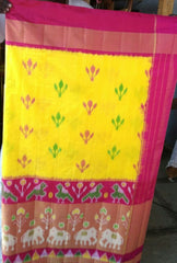 Buy Yellow and Pink Color Ikat Silk Pochampally Saree