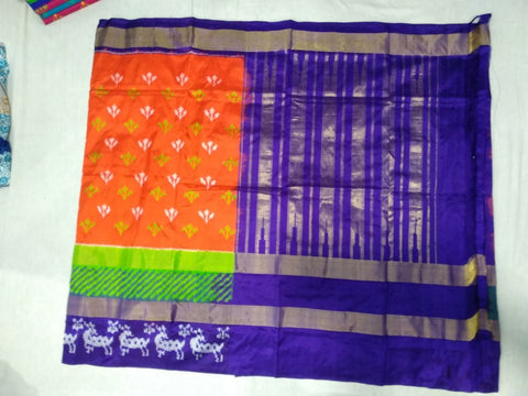 Multi Color Ikat Silk PochamPally Saree - LS-WA0067