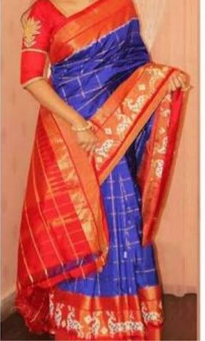 Blue and Orange Color Ikat Silk PochamPally Saree - LS-WA0068