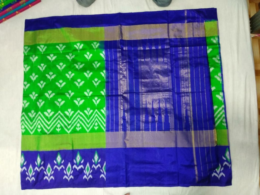 Buy Blue and Green Color Ikat Silk Pochampally Saree