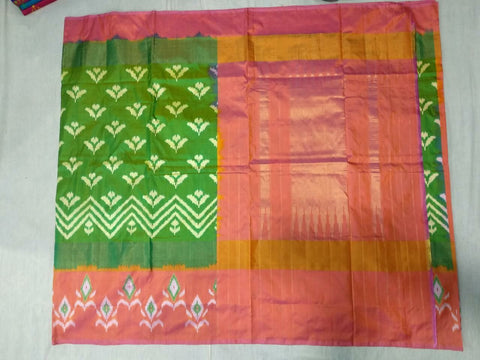 Multi Color Ikat Silk Pochampally Saree - LS-WA0075
