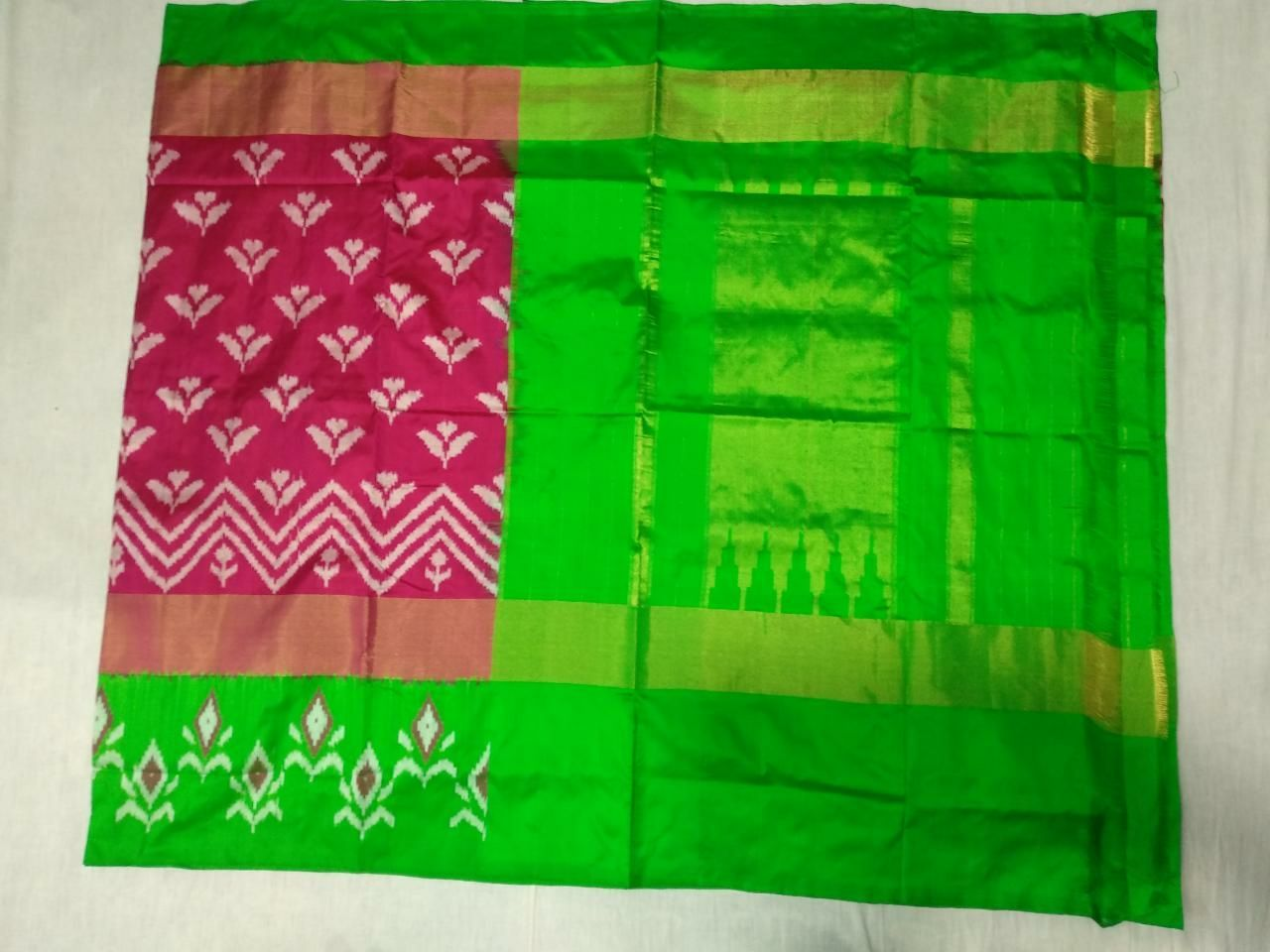 9fed68fdaad93f Buy Pink and Parrot Green Color Ikat Silk Pochampally Saree | Zinnga