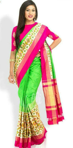 Multi Color Ikat Silk PochamPally Saree - LS-WA0078
