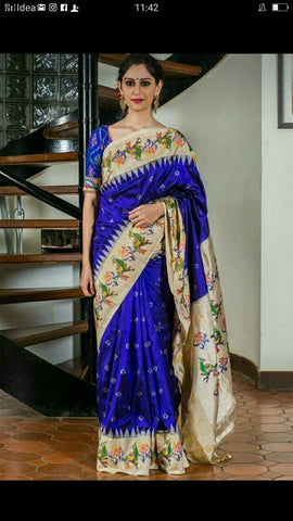 Blue Color Ikat Silk PochamPally Saree - LS-WA0079