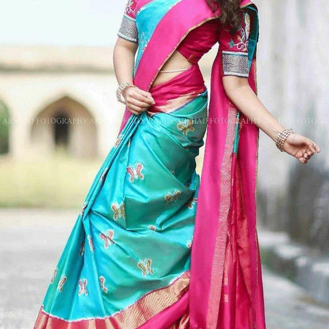 Light Blue and Pink Color Ikat Silk PochamPally Saree - LS-WA0082
