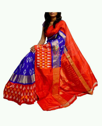 Blue and Orange Color Ikat Silk PochamPally Saree - LS-WA0084