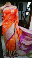 Buy Orange Color Ikat Silk Pochampally Saree