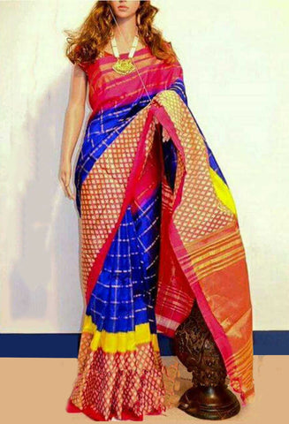 Multi Color Ikat Silk Pochampally Saree - LS-WA0086