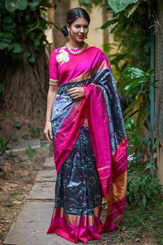 Buy Grey and Pink Color Ikat Silk Pochampally Saree