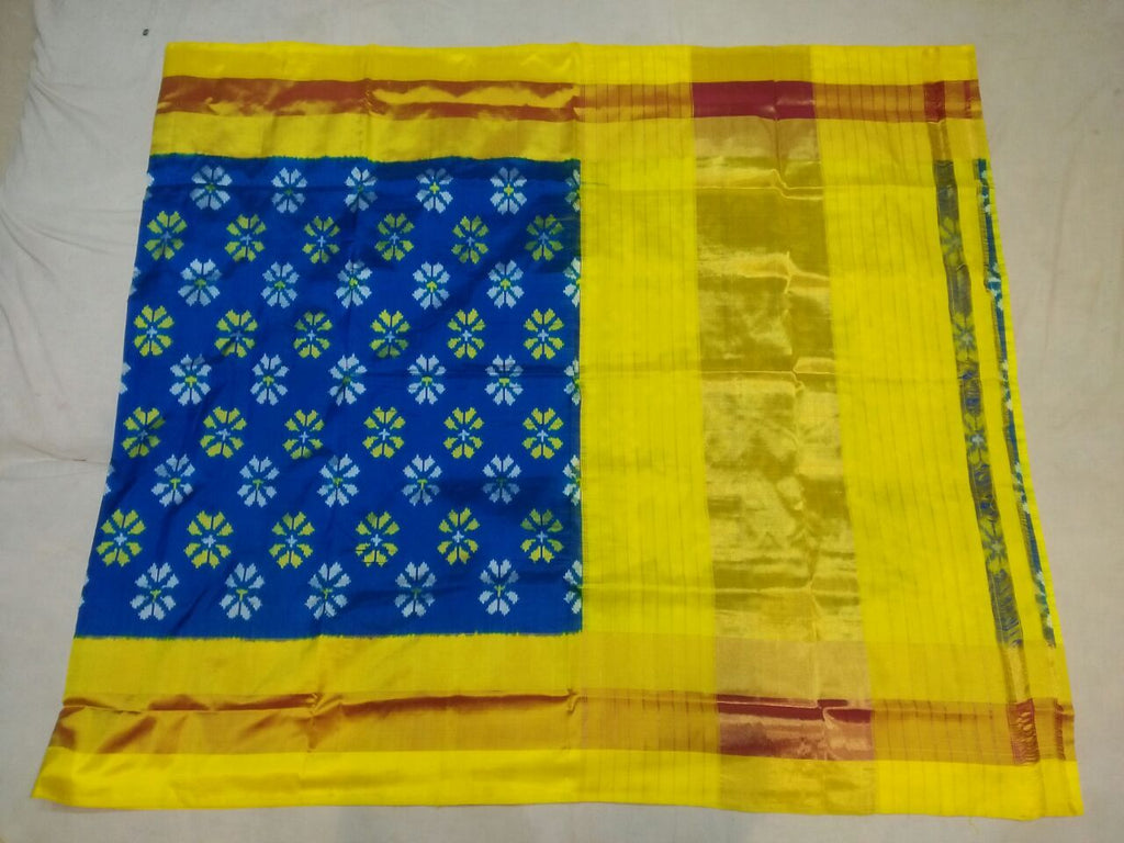 Buy Yellow and Blue Color Ikat Silk Pochampally Saree