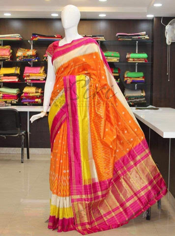 Multi Color Ikat Silk Pochampally Saree - LS-WA0092