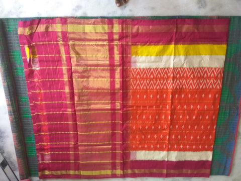 Multi Color Ikat Silk PochamPally Saree - LS-WA0095