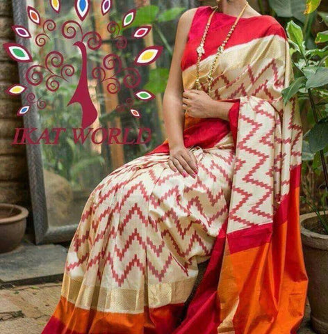 Multi Color Ikat Silk Pochampally Saree - LS-WA0096