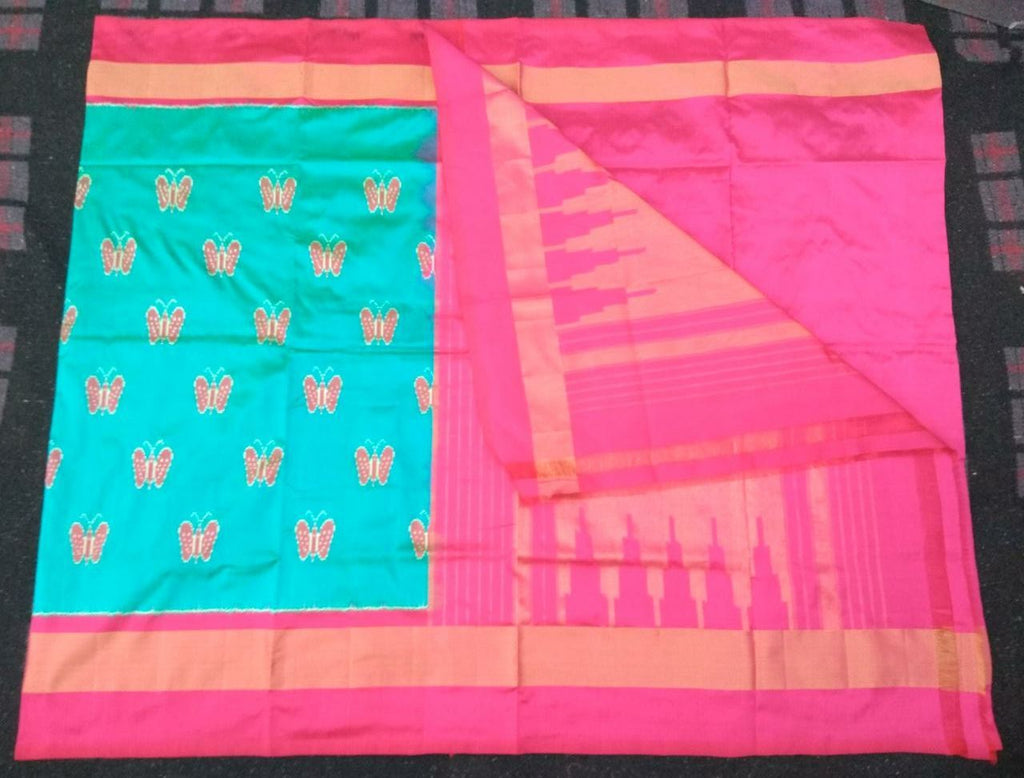 Buy Light Blue and Pink Color Ikat Silk PochamPally Saree