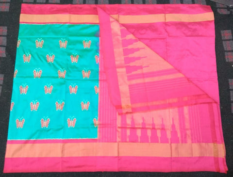 Light Blue and Pink Color Ikat Silk PochamPally Saree - LS-WA0097