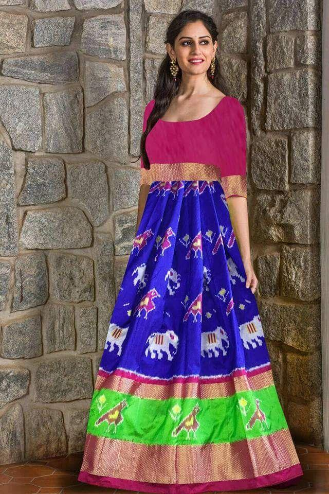 Buy  Multi Color Un Stitched Ikat Silk Girls Pochampally Lehenga