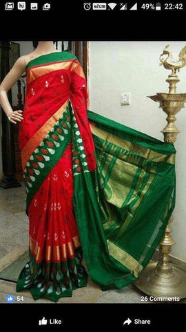 Red and Green Color Ikat Silk Pochampally Saree - LS-WA0105