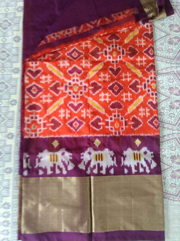 Multi Color Ikat Silk Pochampally Saree - LS-WA0112
